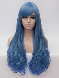 Cosplay Wigs  Blue Gradient Color Wig Wig in Europe and America Fashion Partial Points 26 inch Long Curly Hair