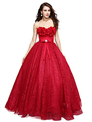 A-Line Sweetheart Floor Length Lace Formal Evening Dress with Appliques Bow(s) by TS Couture®
