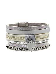 Leather Bracelet Friendship Fashion Bohemian Handmade Leather Rhinestone Alloy Heart Flower Number Irregular Jewelry Jewelry For Wedding