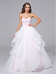 cheap -Ball Gown Sweetheart Sweep / Brush Train Organza Wedding Dress with Beading Lace Sash / Ribbon by LAN TING BRIDE®