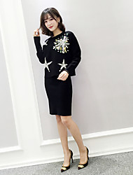 Sign spring new women's heavy hand-beaded diamond knit two-piece package hip skirt suit skirt