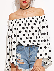 Women Going out Casual/Daily Cute Street chic Chiffion Backless All Match Spring Fall T-shirtPolka Dot Boat Neck Long Flare Sleeve Medium