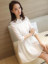 2017 primavera e l'estate abito camicia segno abito bianco donna manica cucitura sottile merletto coreano