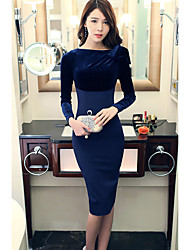cheap -Women's Dailywear Chic & Modern Bodycon Dress,Solid Color Jewel Neck Knee-length Long Sleeves Polyester Winter Fall Mid Rise Stretchy Thin