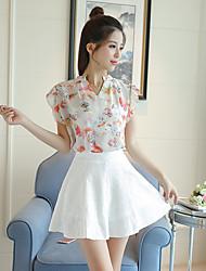 signe les femmes printemps et en été&# 39; chemise en mousseline de soie sans manches v-cou un mot dentelle robe jupe courte en deux