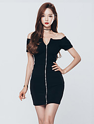 Party Going out Sexy Bodycon Dress,Solid Boat Neck Mini Short Sleeves Cotton Polyester Summer High Rise Micro-elastic Medium