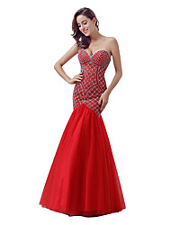 cheap -Mermaid / Trumpet Sweetheart Floor Length Tulle Formal Evening Dress with Beading by Sarahbridal