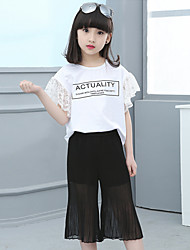 Girls' Going out Casual/Daily Holiday Print Patchwork Sets Cotton Summer Lace Short Sleeve Top Pant 2 Piece Clothing Set