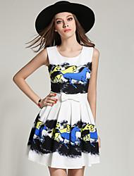 Sign verão novo europeu e americano moda impressão cintura vestido plissado saia sub bottoming