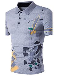 cheap -Men's Going out Casual Active Summer Polo,Print Shirt Collar Short Sleeves Cotton Medium