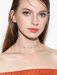 Women's Choker Necklaces Crystal Single Strand Crystal Acrylic Copper Basic Personalized Euramerican Simple Style Costume Jewelry Fashion
