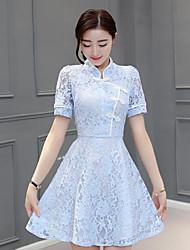 assinar novos botões prato de flor colar de manga curta de cintura senhoras finas rendas uma linha de vestido vestido cheongsam