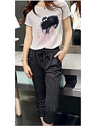 Set novo chiffon coreano chiffon impresso de manga curta cintura de chiffon +