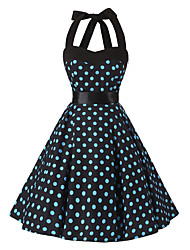 Women's Rockabilly Vintage Dress Black Blue Polka Dot Halter Knee-length Sleeveless Cotton All Seasons Mid Rise