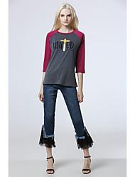 Sinal aliexpress amazon mulheres&# 39; modelos de explosão de comércio exterior s 2017 nova impressão luva t-shirt