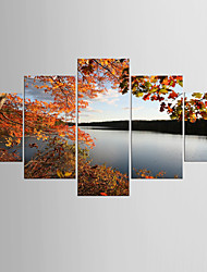 cheap -Photographic Print Landscape Modern Classic,Five Panels Canvas Any Shape Print Wall Decor For Home Decoration