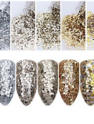 1 Box 10ml Champagne Silver Nail Glitter Powder Sequins Powder Nail Art Decorations
