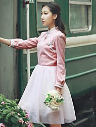 Sign new original retro improved cheongsam Jacquard stitching Puff gauze tutu dress