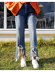 Han Guoguan network spring new hole ripped jeans trousers