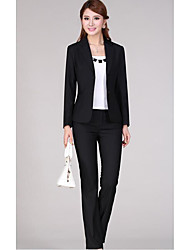 Women's Work Sophisticated Spring Fall Jacket,Solid V Neck Long Sleeve Regular Polyester
