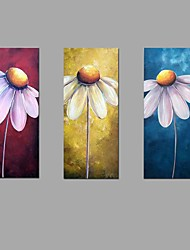 cheap -Handmade Oil Painting Sun Flower Wall Art 3 Piece/set Home Office Decor  with Stretched Framed