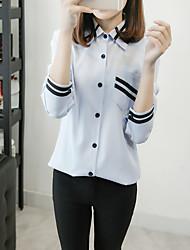 Недорогие -Жен. Художественный Рубашка, Рубашечный воротник В полоску