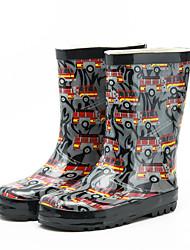 Boys' Boots Comfort Rubber Spring Summer Outdoor Rain Boots Low Heel Black 1in-1 3/4in