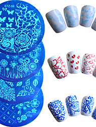 cheap -7pcs/set Hot Sale Fashion Nail Art Stamping Plate Colorful Flower Butterfly Lovely Heart Design Manicure Stencils Nail Tool STZ-6&9&11&12&14&15&19