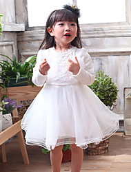 cheap -Girl's Daily Going out School Solid Dress,Cotton All Seasons Long Sleeve Ruffle Lace White