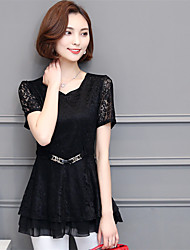Real shot in summer 2017 new short-sleeved V-neck lace shirt large size thin lady bottoming shirt