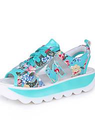 Women's Sandals Comfort PU Spring Summer Casual Dress Comfort Lace-up Flat Heel Black Blue Blushing Pink Flat
