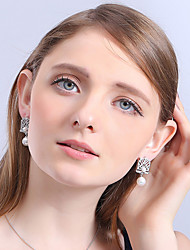 cheap -Women's Pearl Sterling Silver Zircon Drop Earrings - Stylish For Wedding Party Special Occasion Halloween Party / Evening Daily Casual