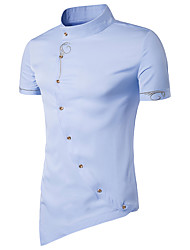 cheap -Men's Casual Cotton Slim Shirt - Solid Colored, Artistic Style Standing Collar