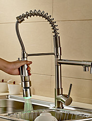 Contemporary Kitchen Faucet Nickel Brushed Finish Single Handle LED Pull-out spout
