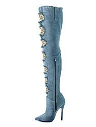 Feminino-Botas-Conforto Inovador Sapatos clube-Salto Agulha-Azul Claro-Tecido-Ar-Livre Social Casual Festas & Noite
