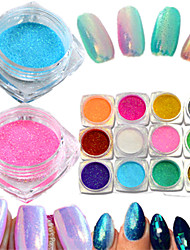 1Bottle Hot Fashion Colorful Nail Art Glitter Mermaid Powder Decoration Magic Mirror Effect Sparkling Powder Nail Glitter Pigment Nail Beauty M01-12