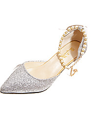 Women's Heels Comfort PU Spring Summer Casual Dress Comfort Imitation Pearl Stiletto Heel Gold Black Silver 1in-1 3/4in