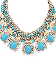 Women's Statement Necklaces Resin Rhinestone Simulated Diamond Alloy Oval Euramerican Fashion Rose Red Light Blue JewelryParty Daily