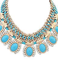 Feminino Colares Declaração Formato Oval Resina Strass imitação de diamante Liga Jóias de Luxo Euramerican Moda Estilo bonito Europeu