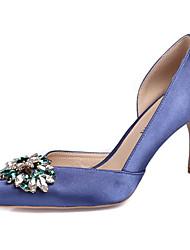 Mujer-Tacón Stiletto-Zapatos del club-Tacones-Boda Oficina y Trabajo Vestido Fiesta y Noche-Seda-Blanco Negro Rojo Rosa claro Azul Real