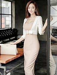 2017 nouveau sexy coréen manches de couleur sort mince fausse robe de la hanche paquet de deux pièces tempérament féminin