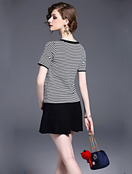 Real shot striped short-sleeved embroidered sweater put on a large female + knit little black dress can be sold separately