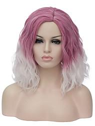 abordables -Perruque Synthétique Ondulation Naturelle Coupe Carré Partie latérale Cheveux Colorés Rose Femme Sans bonnet Perruque de carnaval