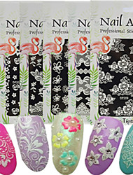 1pcs New 3D Nail Art Sticker Micro-carving Printing Pattern Colorful Design Beautiful Flower Sweet Lace Design Nail Beauty Nail Art Tip DP201-210