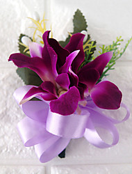 cheap -Wedding Flowers Free-form Lilies Boutonnieres Wedding Party/ Evening Polyester Purple Satin