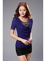 donne di estate nuove&# 39; s camicia versione a maniche corte coreana del caldo leopardo in mucchi collare di perforazione grandi