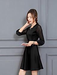 Hitz Korean women lace long-sleeved knit dress big yards long section bottoming Dress