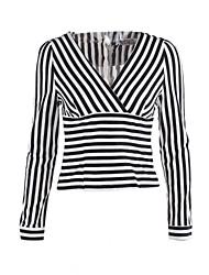 Недорогие -Для женщин На каждый день Весна Рубашка V-образный вырез,Простое Полоски Длинный рукав,Хлопок,Средняя