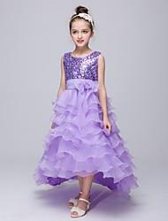 abito da sera vestito asimmetrico dalla ragazza del fiore - collo di gioiello sleeveless del organza con il sequin da ydn