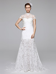 cheap -Mermaid / Trumpet Illusion Neckline Sweep / Brush Train Lace Wedding Dress with Lace Draped by LAN TING BRIDE®